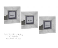 Set 3 x Mini Photo Frames Sun Beam Silver